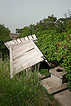 Weathered,blown over outhouse behind the St. Wenceslaus Church, Netolice now Geranium TWP, Valley Co.