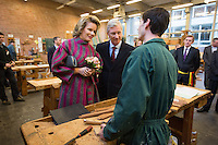 King Philippe and Queen Mathilde of Belgium during a Royal visit in Ronse - Belgium