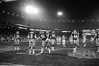 SAN FRANCISCO, CA - Quarterback Steve Young of the San Francisco 49ers stands in a huddle with his teammates during a game against the Los Angeles Rams at Candlestick Park in San Francisco, California in 1988. Photo by Brad Mangin