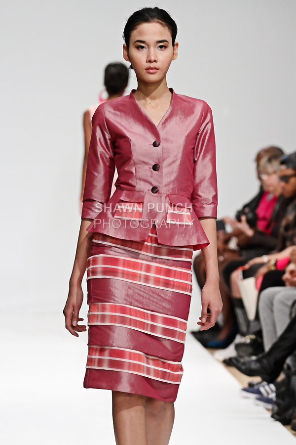 Model walks runway in an outfit from the Marsae by Marcie De Santos Fall 2014 collection, during Fashion Gallery Week Fall 2014, on February 9, 2014.