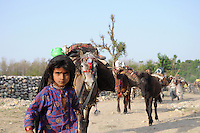 Salma, five years old, leads the caravan out of the forest.
