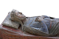 Royal tomb of Isabella of Angouleme in the nave of the Abbey Church at Fontevraud Abbey, Anjou, France. Isabella, 1188-1246,  was Queen consort of King John of England, brother of Richard I. The Plantagenet rulers were benefactors of the monastery. The effigy is carved in wood and was painted, she wears a crown and nun's wimple (Isabella was a nun at Fontevraud) and her robes are blue. Fontevraud Abbey was founded in 1100 by Robert of Arbrissel and became a double monastery for both monks and nuns, led by an Abbess. The Order was dissolved during the French Revolution. Picture by Manuel Cohen