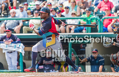 19 March 2015: Atlanta Braves outfielder Eric Young Jr. in Spring Training action against the Miami Marlins at Champion Stadium in the ESPN Wide World of Sports Complex in Kissimmee, Florida. The Braves defeated the Marlins 6-3 in Grapefruit League play. Mandatory Credit: Ed Wolfstein Photo *** RAW (NEF) Image File Available ***
