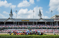The field passes the legendary twin spires the first time by in the Edgewood Stakes on Kentucky Oaks Day at Churchill Downs in Louisville, Kentucky on May 4, 2012.
