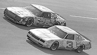 Dale Earnhardt(3) Tim Richmond (25) race side by side  Motorcraft 500 at Atlanta International Raceway in Hampton, GA on March 16, 1986.   (Photo by Brian Cleary/www.bcpix.com)