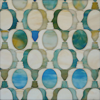 Janus Petite, a waterjet mosaic shown in Aquamarine and Quartz jewel glass, is part of the Illusions™ Collection by Sara Baldwin Designs for New Ravenna.