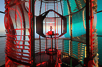 The Lantern, with red green and white sections and an electric light functioning automatically, on top of the Phare de Cordouan or Cordouan Lighthouse, built 1584-1611 in Renaissance style by Louis de Foix, 1530-1604, French architect, located 7km at sea, near the mouth of the Gironde estuary, Aquitaine, France. This is the oldest lighthouse in France. There are 4 storeys, with keeper apartments and an entrance hall, King's apartments, chapel, secondary lantern and the lantern at the top at 68m. Parabolic lamps and lenses were added in the 18th and 19th centuries. The lighthouse is listed as a historic monument. Picture by Manuel Cohen