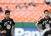 new signings Pablo Hernandez #21 and Branko Boskovic #27 of D.C. United during an MLS match against Seattle Sounders FC at RFK Stadium on July 15 2010, in Washington DC.Seattle won 1-0.