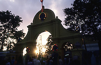 Sri Lanka. Main entrance to the Katargama Devale at dusk.