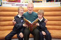 """*** NO FEE PIC***.01/03/2012.Pictured is Irish Author Brendan O' Brien with third class children from Holy Cross National School Dundrum, Dublin (L to R) Twins Frankie Kelly Corrigan & Charlie Kelly Corrigan (9) at a free reading event of his book """" The Story of Ireland"""" in Eason Dundrum to celebrate the 15th annual World Book Day. To celebrate World Book Day Eason, Ireland's leading retailerof books, stationery, magazines & More have teamed up with some of Ireland'sleading children's writers to deliver a series of events in key stores to mark World Book Day..Photo: Gareth Chaney Collins"""