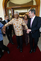 Gordon Brown, British Chancellor of the Exchequer, and former South African president Nelson Mandela at the presidential palace in Maputo after talks on education in Africa. Brown was in Mozambique to launch a new 'Free education for all' initiative.