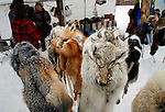 Fur hat for sale at a winter festival in Land O Lakes, Wisconsin.