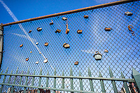 Locks are seen attached to various parts of a fence in New York on Saturday, March 12, 2016. (© Richard B. Levine)