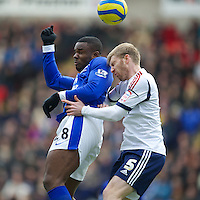 BOLTON, ENGLAND - Saturday, January 26, 2013: Everton's Victor Anichebe in action against Bolton Wanderers' Tim Ream during the FA Cup 4th Round match at the Reebok Stadium. (Pic by David Rawcliffe/Propaganda)