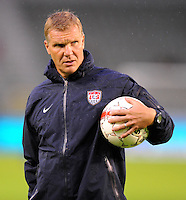 Chris Woods, coach of the goalkeeper of team USA, at the warm up during the friendly match Belgium against USA at King Baudoin stadium in Brussel, Belgium on September 06th, 2011.
