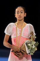 Mao Asada of Japan wins gold in ladies figure skating at the Trophee Eric Bompard competition in Paris, France, November 19, 2005.  Asada is just 15 years old and although she will not compete at the Torino 2006 Olympics, she is considered to be one of the best in the world and a bright new star in Japanese women's figure skating. (Photo/Tom Theobald)