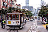 United States, California, San Francisco. The famous and unique San Francisco cable car system. Powell Street.