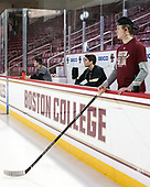 JD Dudek (BC - 15), Ron Greco (BC - 28), Graham McPhee (BC - 27) - The Boston College Eagles defeated the visiting Colorado College Tigers 4-1 on Friday, October 21, 2016, at Kelley Rink in Conte Forum in Chestnut Hill, Massachusetts.The Boston College Eagles defeated the visiting Colorado College Tiger 4-1 on Friday, October 21, 2016, at Kelley Rink in Conte Forum in Chestnut Hill, Massachusett.
