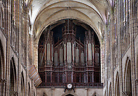 Organ, Cavaille-Coll, 1841 - 1857 / Mutin, 1901 / Danion-Gonzalez, 1988, case designed by architect Francois Debret in 1836, Abbey church of Saint Denis, Seine Saint Denis, France. Picture by Manuel Cohen