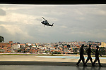 An helicopter approaches Helipark, at the outskirts of Sao Paulo city.