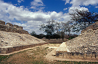 The ballcourt at the Mayan ruins of Edzna, Campeche, Mexico