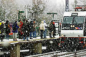 Commuters board the Princeton Junction train in Princeton Junuction, NJ on Friday March 19, 2004. This is one of the busiest train stations in New Jersey. photo by jane therese