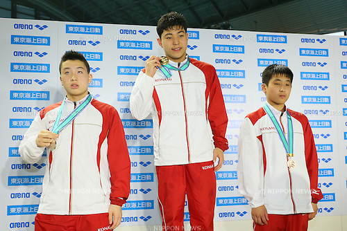 (L to R) <br /> Ryotaro Ishihara, <br /> Reigo Ishibashi, <br /> Yuta Yamamoto, <br /> MARCH 29, 2015 - Swimming : <br /> The 37th JOC Junior Olympic Cup <br /> Men's 200m Butterfly <br /> 13-14 years old award ceremony <br /> at Tatsumi International Swimming Pool, Tokyo, Japan. <br /> (Photo by YUTAKA/AFLO SPORT)