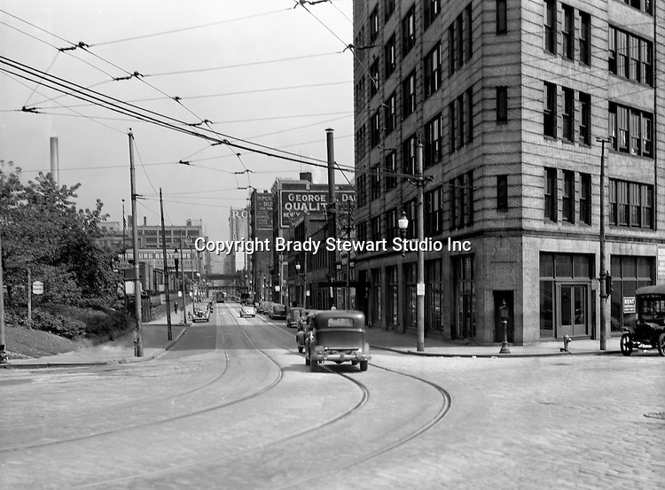 Pittsburgh PA:  View looking east up Penn Avenue from Water Street and the Point Bridge - 1935.