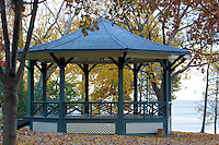 Gazebo in the fall on the shore of Lake Ontario in Oakville