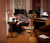 WARSAW, POLAND, JANUARY 2013:<br /> Lukasz Gibski, of STEREO disco polo band at his flat.<br /> Disco polo is a type of dance music which originated in rural areas of Poland.<br /> Though considered tacky by many people, it is becoming incredibly popular<br /> (Photo by Piotr Malecki / Napo Images)<br /> <br /> Warszawa, styczen 2013:<br /> Lukasz Gibski z zespolu STEREO, w wynajetym mieszkaniu.<br /> Fot: Piotr Malecki / Napo Images