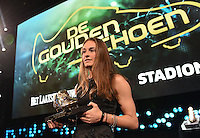20170208 – LINT ,  BELGIUM : Tessa Wullaert the first winner of the female Golden Shoe pictured during the  63nd men edition of the Golden Shoe award ceremony and 1st Women's edition, Wednesday 8 February 2017, in Lint AED studio. The Golden Shoe (Gouden Schoen / Soulier d'Or) is an award for the best soccer player of the Belgian Jupiler Pro League championship during the year 2016. The female edition is a first in Belgium.  PHOTO DIRK VUYLSTEKE   Sportpix.be