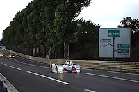 The Audi R8 driven by Marco Werner, Michael Krumm and Philipp Peter on the Mulsanne Straight during the 2002 24 Hours of Le Mans.