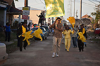 The Black Men of Labor, The Money Wasters and the Treme Sidewalk Steppers second line through the streets of New Orleans in the pilot episode of HBO's 'Treme' created by David Simon and Eric Overmyer.