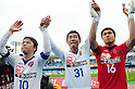 (L-R) Ryang Yong-Gi, Daisuke Saito, Takuto Hayashi (Vegalta), APRIL 23rd, 2011 - Football : Ryang Yong-Gi, Daisuke Saito and Takuto Hayashi of Vegalta Sendai acknowledge fans after the 2011 J.League Division 1 match between Kawasaki Frontale 1-2 Vegalta Sendai at Todoroki Stadium in Kanagawa, Japan. (Photo by AFLO).