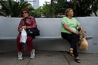 """Waiting for Mexico City's public transportation's """"Women Only"""" bus Mexico D.F., Mexico.  Wednesday, April 30, 2008"""