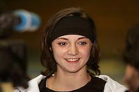 Anna Bessonova of Ukraine smiles during tv press interview before 2006 Deriugina Cup Grand Prix at Kiev, Ukraine on March 16. (Photo by Tom Theobald)