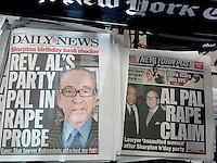 The NY Daily News and the NY Post feature coverage on Sunday, October 5, 2014 of attorney Sanford Rubenstein being accused of raping a woman in his home after the Rev. Al Sharpton's 60th birthday party on Wednesday , October 1, 2014 at the Four Seasons restaurant. (© Richard B. Levine)