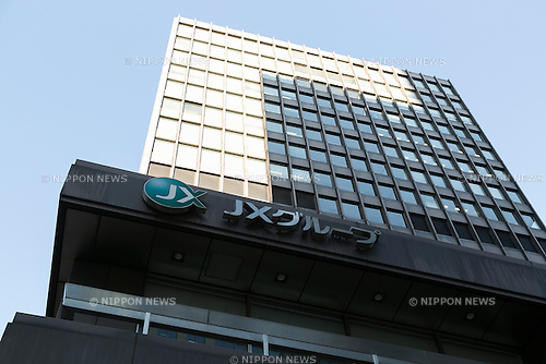A general view of the JX Holdings building in Tokyo, Japan on December 4, 2015. Japan's largest oil refiner and wholesaler JX Holdings Inc., which operates ENEOS gas stations, is continuing talks to finalize the acquisition of competitor TonenGeneral Sekiyu by the end of this year. The companies have combined sales of 14 trillion yen ($113 billion) and plan a share swap in the latest move towards consolidating their businesses by 2017. JX Holdings operates 14,000 ENEOS gas stations and TonenGeneral operates Esso, Mobil and General brand gas stations. Together they represent around 40% of all stations in Japan. (Photo by Rodrigo Reyes Marin/AFLO)