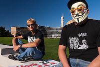 Brian (left) and George (right)  attend the activities at the Occupy Orange County, Irvine camp on November 5.