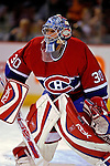 3 February 2007: Montreal Canadiens goaltender David Aebischer of Switzerland warms up prior to facing the New York Islanders at the Bell Centre in Montreal, Canada. The Islanders defeated the Canadiens 4-2.Mandatory Photo Credit: Ed Wolfstein Photo *** Editorial Sales through Icon Sports Media *** www.iconsportsmedia.com