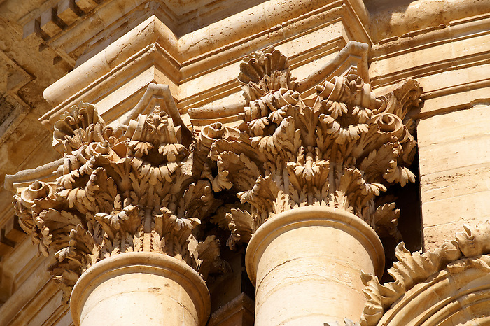 Ionic Column capitals of the Baroque Church of St George designed by Gagliardi 1702 , Modica, Sicily