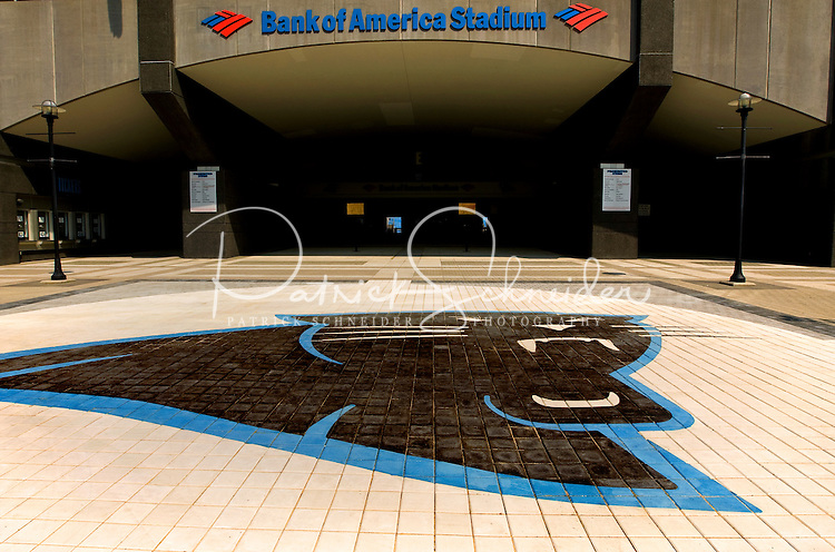 A Carolina Panthers logo oustide of the Bank of America Stadium in Charlotte NC.