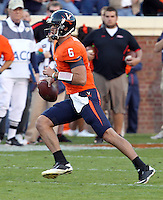 Nov 13, 2010; Charlottesville, VA, USA; Virginia Cavaliers quarterback Marc Verica (6) during the game against the Maryland Terrapins at Scott Stadium. Maryland won 42-23.  Mandatory Credit: Andrew Shurtleff