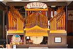 "August 25. 2012 - Middlebury, Connectiicut, U.S. - David Wasson's home made 98 keyless band organ ""Trudy"" at the Band Organ Rally hosted by Quassy Amusement Park for COAA Carousel Organ of America Association. The organ automatically plays using paper perforated with hole for each note to be played."