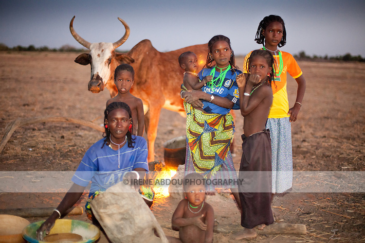 The Fulani are traditionally nomadic pastoralists, crisscrossing the Sahel season after season in search of fresh water and green pastures.  Here in the rainy season village of Pete Goonga, a group of women and children prepare dinner at dusk.