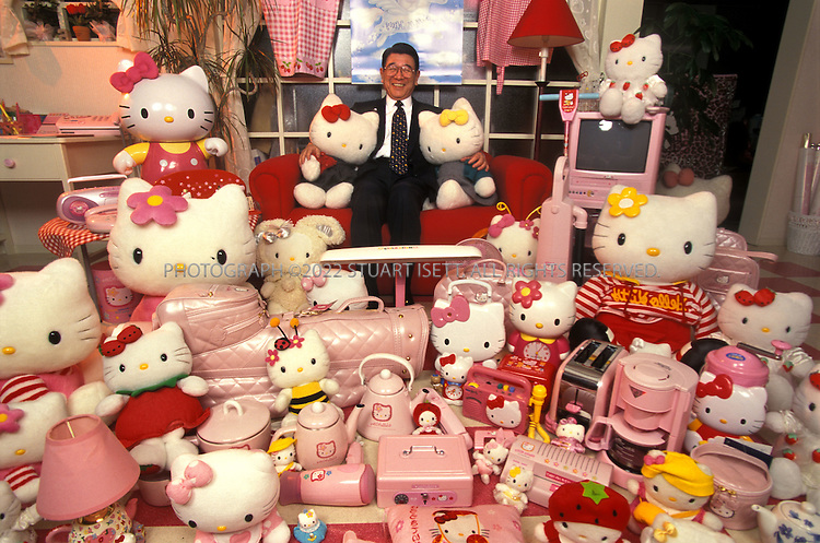 """2/26/2000--Tokyo, Japan..Tsuji Shintaro, 71, the man behind the Hello Kitty phenomenon. Orphaned at 13, Tsuji Shintaro was brought up by his grandparents in Kofu City in central Japan. He says his lonely childhood taught him the importance of having someone - or something - for """"heart-to-heart communication."""" So at 71, the founder and president of merchandiser Sanrio continues to think up stuffed-toy characters like the bunny My Melody, the frog Keroppi, the cherubs Little Twin Stars and, of course, the mouthless feline Hello Kitty. All are determinedly cute and cuddly, presumably so they can bring comfort and joy to lonely kids and even grown-ups. There are apparently millions of these people. For the year ending March 1999, Sanrio is expected to gross a record-breaking $1 billion...All photographs ©2003 Stuart Isett.All rights reserved.This image may not be reproduced without expressed written permission from Stuart Isett."""