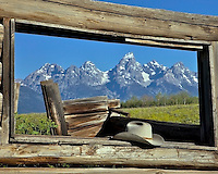 "Derilict log cabin, Cowboy hat, Grand Teton National Park, Jackson Hole, Wyoming. This was the cabin used in the movie ""Shane"" 1954 starring Allan Ladd."