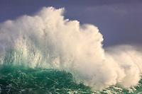 A detail of a giant wave breaking into the sky at Lumaha'i Beach, Kaua'i.