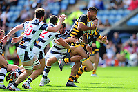 Frank Halai of Wasps takes on the Yorkshire Carnegie defence. Pre-season friendly match, between Wasps and Yorkshire Carnegie on August 21, 2016 at the Ricoh Arena in Coventry, England. Photo by: Patrick Khachfe / JMP