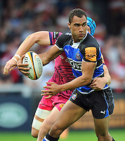 Olly Woodburn in possession. J.P. Morgan Premiership Rugby 7s match, between Bath Rugby and Exeter Chiefs on July 27, 2012 at Kingsholm Stadium in Gloucester, England. Photo by: Patrick Khachfe / Onside Images